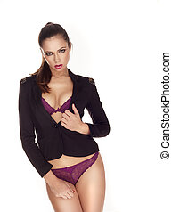 Sexy woman in black blazer - Sexy woman in purple lingerie...