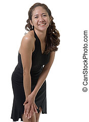 Sexy woman in black dress - Pretty asian girl wearing sexy...