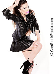 Sexy Woman In Black Leather Miniskirt - Sexy provocative...