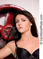 woman in black lingerie with big red fan
