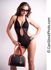woman in black lingerie