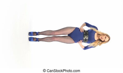 Sexy Woman In Blue Dress