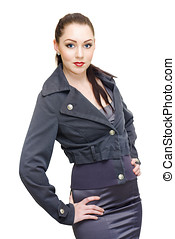 Sexy Woman In Business Fashion Striking Model Pose
