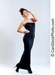 woman in elegant black dress