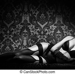 Sexy woman in erotic lingerie - Retro styled black and white...