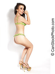 Sexy woman in green underwear