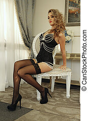 Sexy Woman in Luxurious Corset Fashion Outfit - Beautiful...