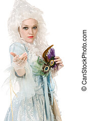 Sexy woman in Maria Antoinette costume and wig - Girl in...