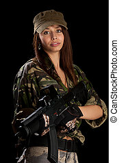 sexy woman in military uniform - Shot of a sexy woman in...