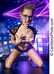 Sexy woman in night club