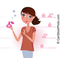 Girl buying and holding a perfume in shop. Vector Illustration.