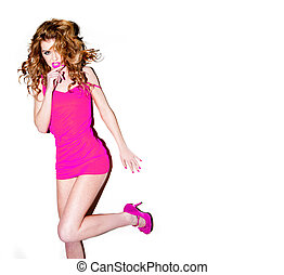 Sexy Woman In Pink Miniskirt - Sexy woman with lovely long...