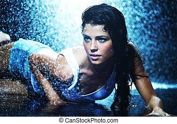 woman in water studio