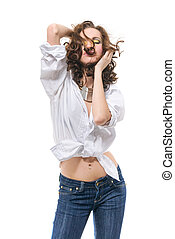 sexy woman in white shirt isolated on white
