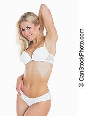 Sexy woman in white underwear