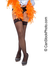 sexy woman legs in black stocking with feather boa - a sexy...