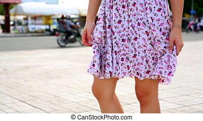 sexy woman legs in mini skirt