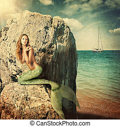 Sexy woman mermaid with long tail - Sexy beautiful woman...