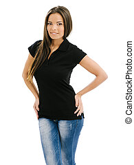 Young beautiful woman posing with a blank black polo shirt. Ready for your design or artwork.