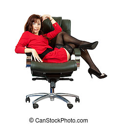 Sexy woman  on  office armchair