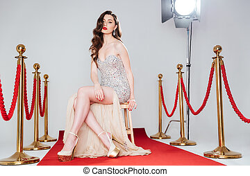 Sexy woman on red carpet