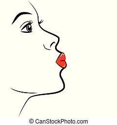 sexy woman portrait air kiss red lipstick