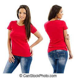 Sexy woman posing with blank red shirt