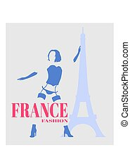 Sexy woman silhouette. France fashion text and eiffel tower icon