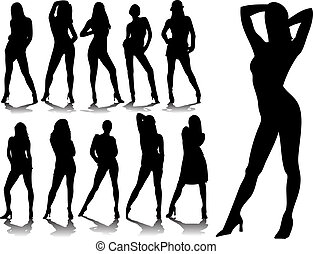 Sexy woman silhouettes in editable vector format