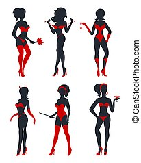 Sexy Woman Silhouettes Set