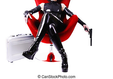 Sexy woman sitting on chair. - Sexy woman sitting on chair, ...