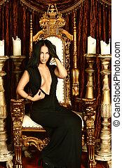 Sexy woman sitting on throne - Beautiful,sexy , brunette...