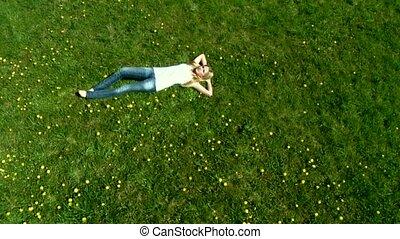 Sexy Woman sleeping - Camera Crane