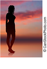 sexy woman standing with sunset internet background