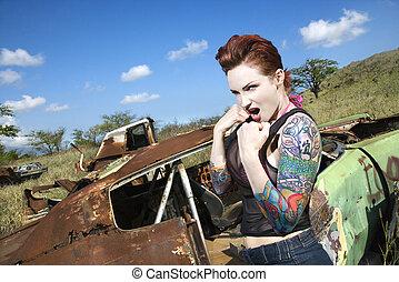 sexy, woman., tattooed