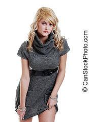sexy woman wearing a grey dress