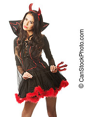 Sexy woman wearing devil clothes, standing astride, holding trident.