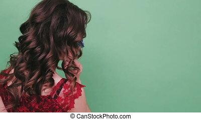 Sexy woman wearing venetian masquerade carnival mask
