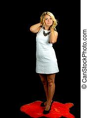 Sexy woman wearing white dress
