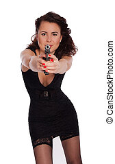 Sexy woman with a gun. - Sexy woman in black dress with a...