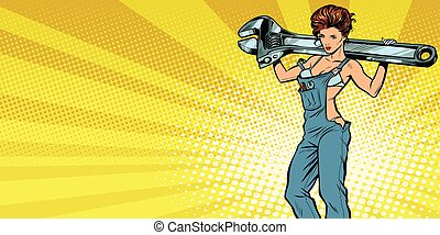 Sexy woman with a wrench, repair service background