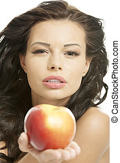 Sexy woman with apple - Sexy woman with red apple