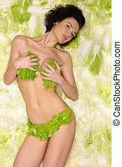 sexy woman with cabbage