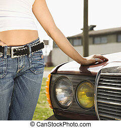 Sexy woman with car.