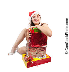 Sexy  woman with Christmas gifts