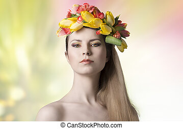 sexy woman with colorful spring wreath