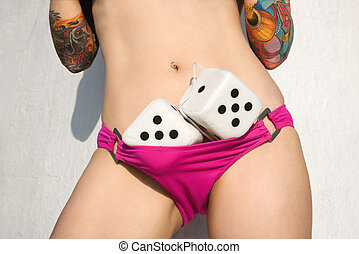 Sexy woman with dice.
