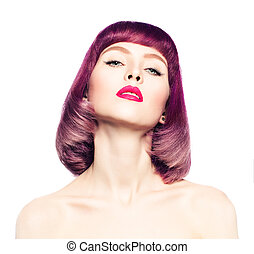 Sexy Woman with Fashion Bob Hairstyle. Coloring Hair.