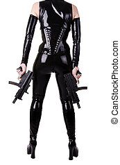 Sexy woman with guns. - Sexy woman ready to shoot, isolated...