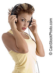 sexy woman with headphone